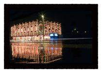 Blackpool illuminations lit up at night,