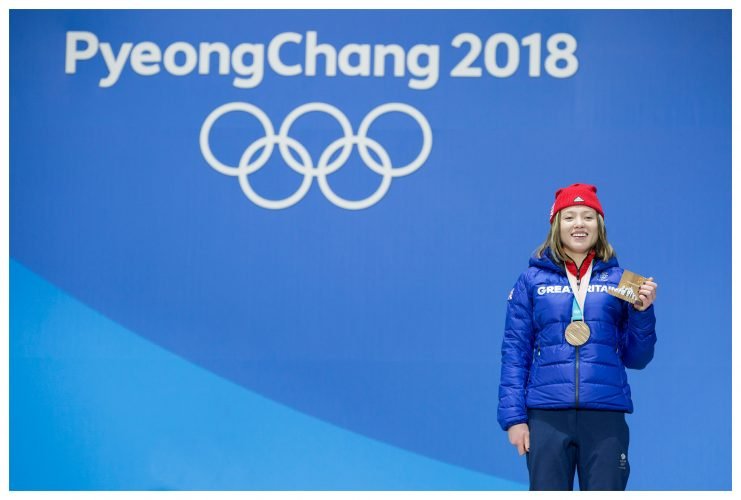 Bronze medalist Izzy Atkin at the Olympic Plaza in Pyeongchang.  | © Sam Mellish 2021