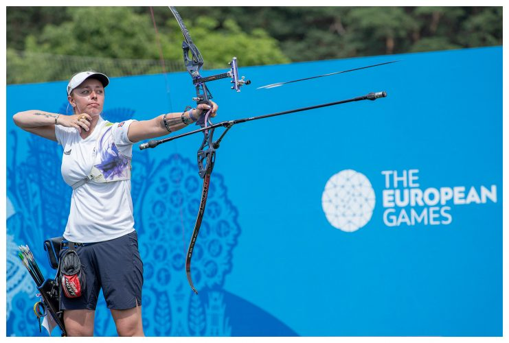 Team GB's Bryony Pitman during the women's recurve team final at the 2019 Minsk European Games | © Sam Mellish 2021