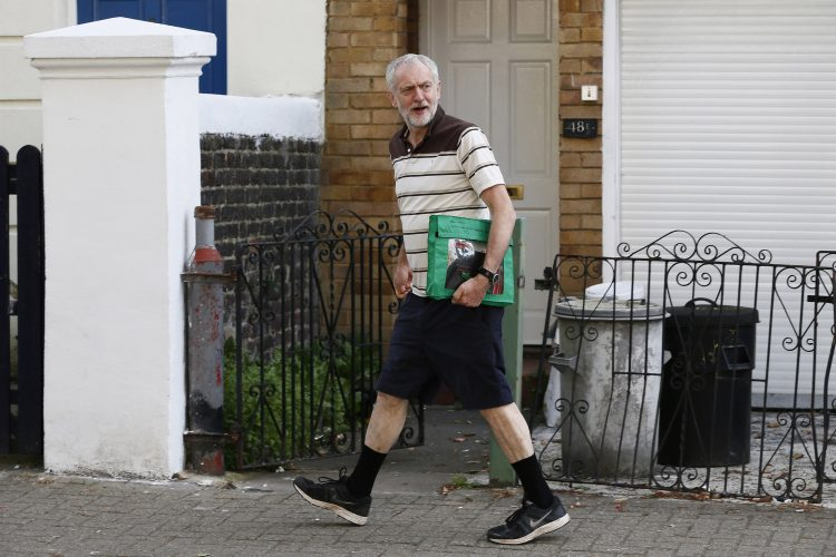 Labour Party leadership candidate Jeremy Corbyn leaves his home in London