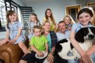 Sky News presenter Colin Brazier at home with his wife and six children