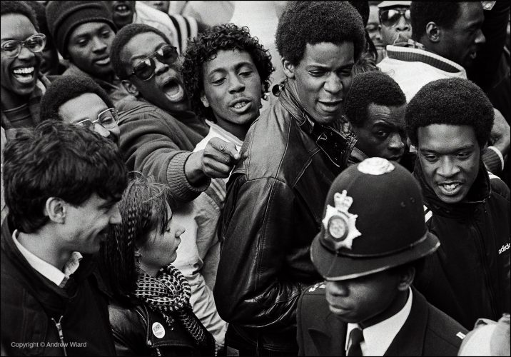 England, UK . 27.04.1985. During a demonstration in defence of the Newham Seven, asian youths accused of forming a vigilante squad to protect school children from racists