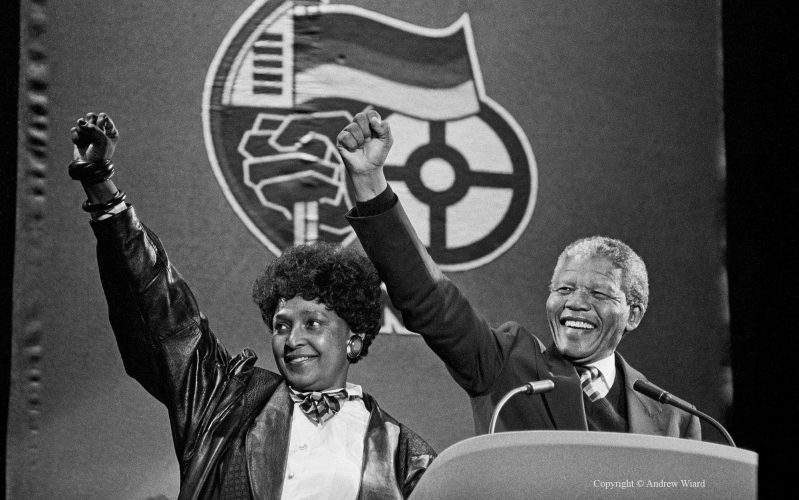 England, UK .16.4.1990. London . Wembley Stadium. Mandela Concert. Nelson & Winnie Mandela arrive onstage after his release from prison.