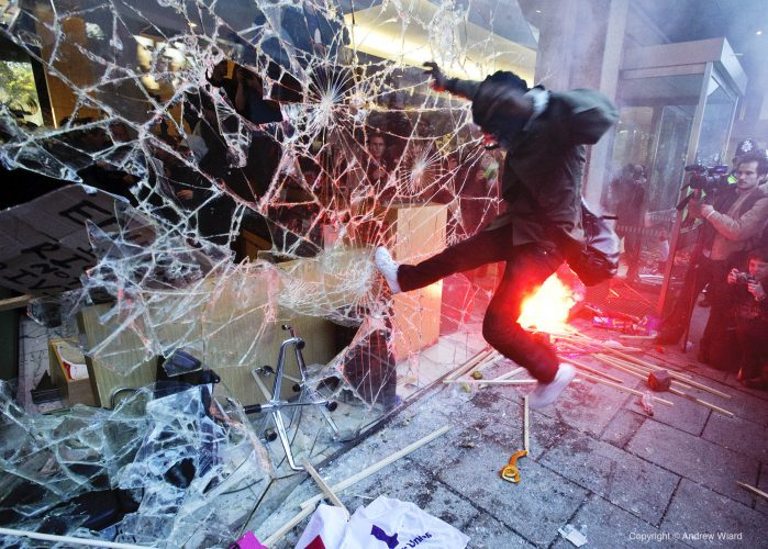 England, UK . 10.11. 2010. London . 30 Millbank. Demonstrators break into Tory Party HQ during student protest against proposed cuts to higher education and university funding in a demonstration organised by the National Union of Students and the Universi
