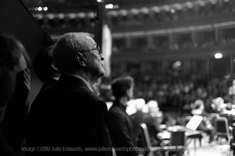 Sir Michael Caine waits to go onstage at The  Royal Albert Hall