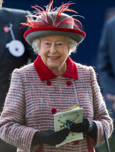 Queen Elizabeth II attends Champions Day at Ascot Racecourse.
