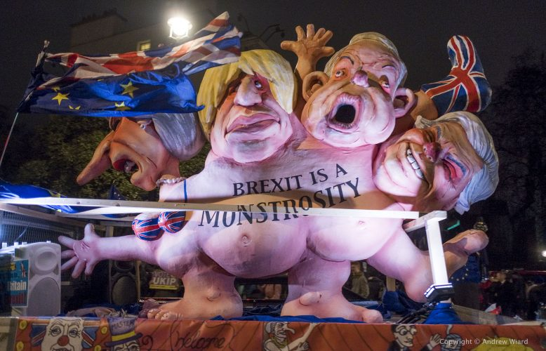 England, UK . 15.1. 2019. London . Westminster. Brexit is a Monstrosity sculpture by Jacques Tilly rides past Parliament  as MPs vote on Theresa May's Brexit deal.