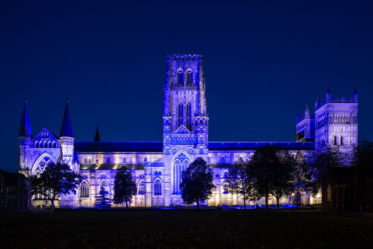 Durham Cathedral glows blue for key workers