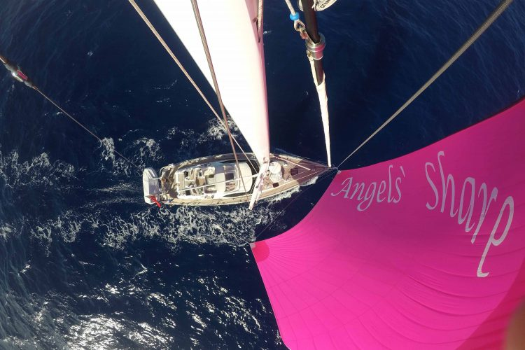 High above the deck at the masthead of an Oyster 575 mid Atlantic on a passage to Rodney Bay, St Lucia.