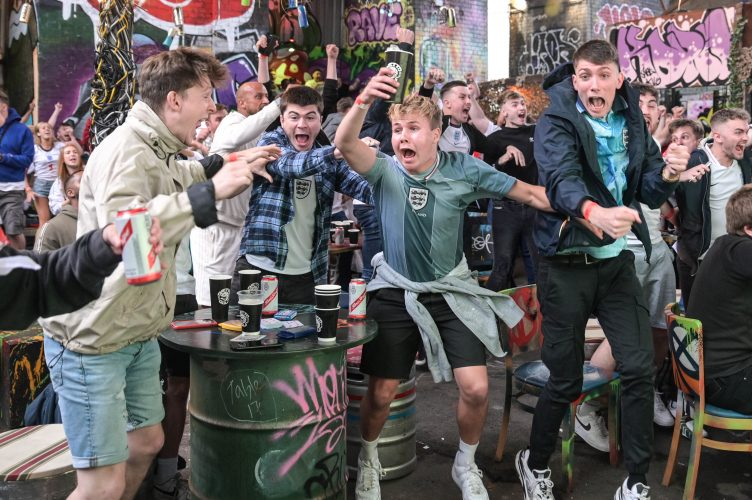 Euro 2020 final: Football fans in Birmingham erupt as England scores a goal against Italy in the Euro 2020 final