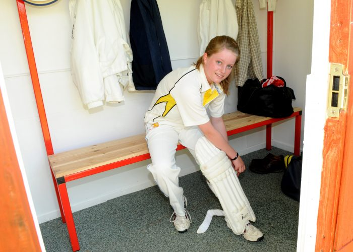 Female cricket player Anna Squire has a changing room to herself, Filleigh.