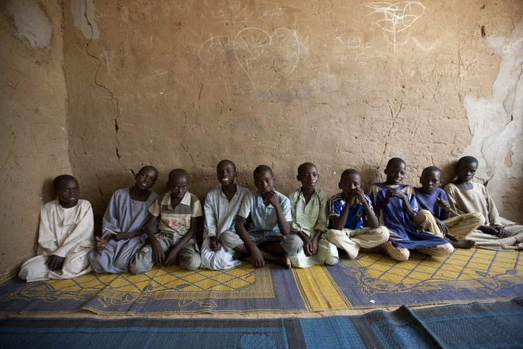 Boys are segregated from the girls at a boarding school near Djamena, Chad.