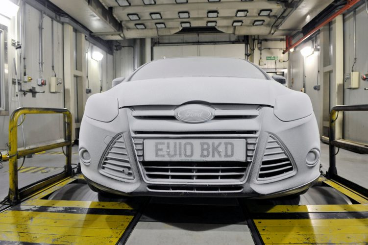 New Ford Focus in an environmental test chamber at Ford Technical Centre Dunton.