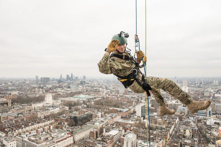 Bear Grylls abseils the BT Tower, London, Britain