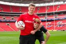 Owen Farrell and Greg Rutherford at Wembley Stadium, London, Britain