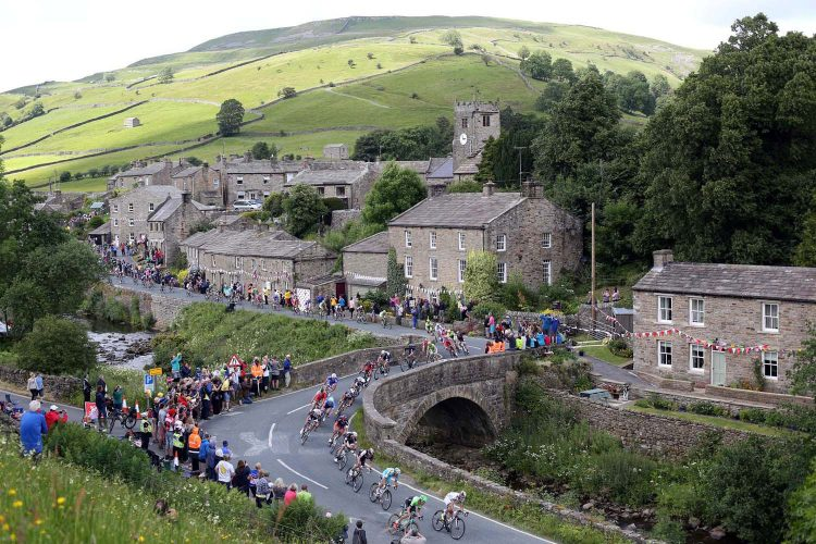 The Tour de France passes through the village of Muker in North Yorkshire.