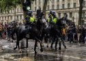 Police horses charge towards protestors at BLM Demonstration in Whitehall