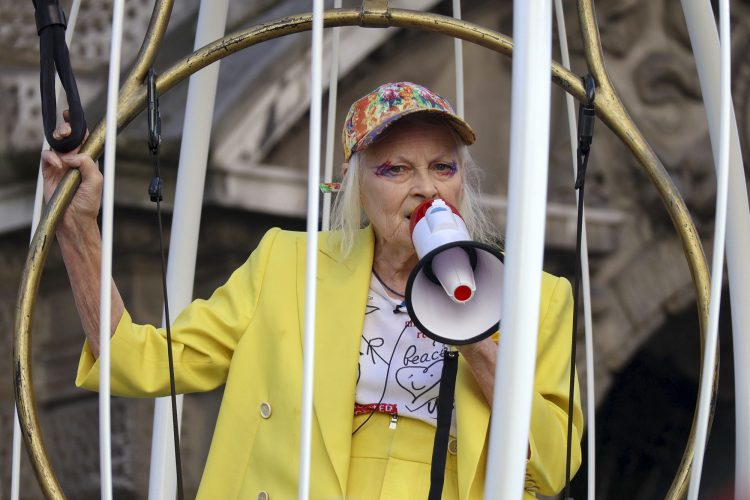 Vivienne Westwood suspended in cage at Free Julian Assange Protest