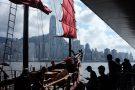 Hong Kong Aqua Luna possibly the last Chinese junk boat left.