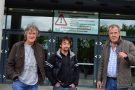 Clarkson, Hammond, May arive at the Belfast Odyssey Arena ahead of a 4 dy sold out tour.