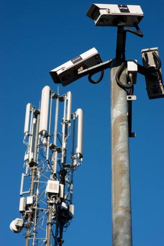 CCTV Surveillance Cameras and a Mobile Telephone Mast