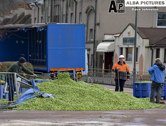 Lorry sheds load of brussel sprouts on busy roundabout, Monday 16 December 2019