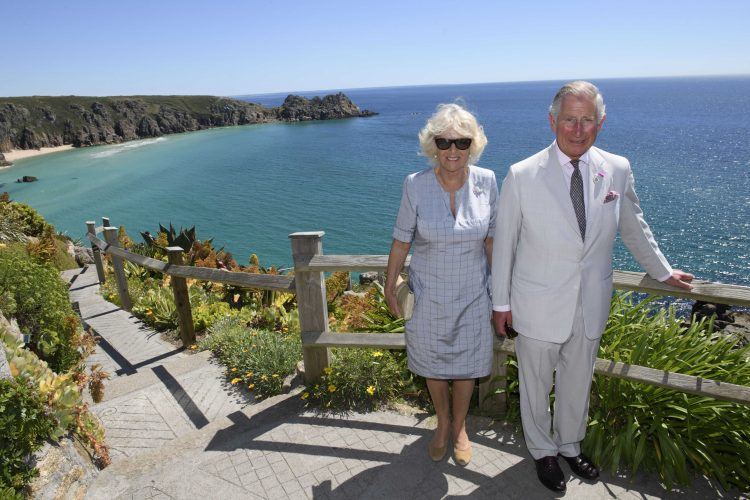 Prince Charles Camilla Duchess of Cornwall visit The Minack Theatre Porthcurno Penzance Cornwall