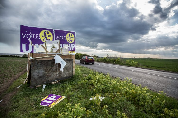 A destroyed UKIP election banner in Thanet South