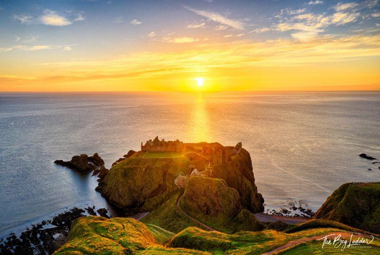 Sunrise over Dunnottar Castle in Scotland