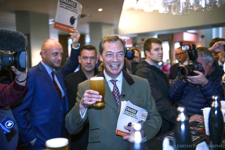 Nigel walked around the streets of Westhoughton and visited a market and local pub during the Leave Means Leave campaign 2018