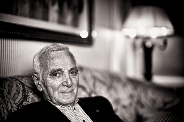 Portraits of singer Charles Aznavour in his suite at the Ritz Carlton Hotel in New York, NY, USA, ahead of an event by the Fund For Armenian Relief (FAR) where he was honoured with a lifetime achievement award.