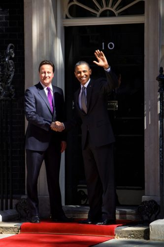 State visit to Britain by US President Barack Obama.  Britain's Prime Minister David Cameron greets the US President Barack Obama, welcoming him to 10 Downing Street.