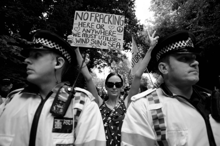 Anti Fracking Protesters Form Ring Around Drill Site Balcombe UK