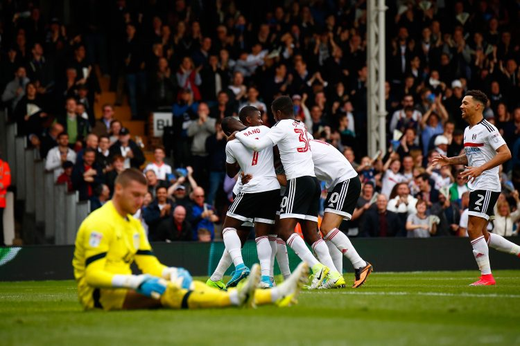 Fulham v Aston Villa 0373- 17/04/2017. Fulham FC v Aston Villa.  Match Action. Fulham's Sone ALUKO celebrates