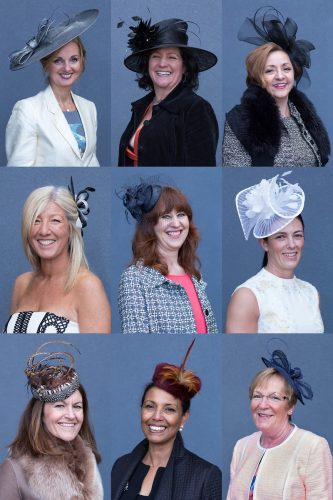 A series of portraits of female racegoers wearing a variety of fascinators and hats, taken during the Grand National 2016, in Liverpool.