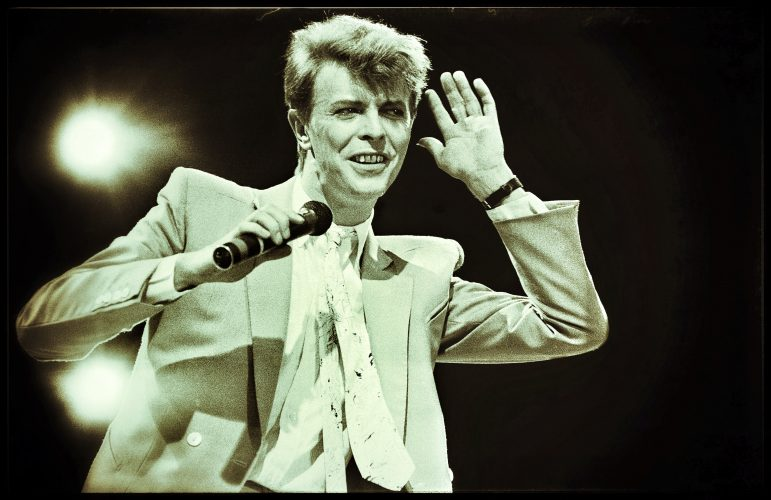David Bowie on Stage Live Aid  13th July 1985 I won an award for this picture and put the prize money back in !