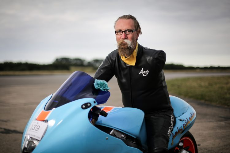 One-armed biker Andy Slade, of Kings Lyne in Norfolk.