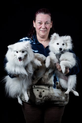 Kim Bailey with her Japanese Spitzes named Kishi and Furi at Crufts 2016
