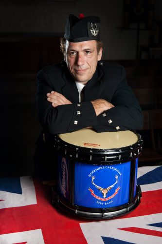 Jason Kauder of the Hampshire Caledonian Pipe Band.
