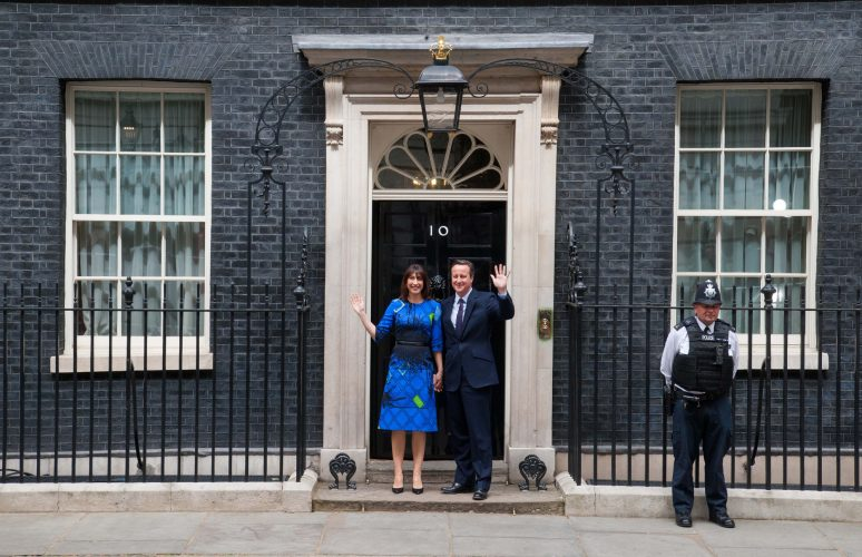 David and Samantha Cameron stand outside 10 Downing Street after winning the 2015 election, Westminster, London.