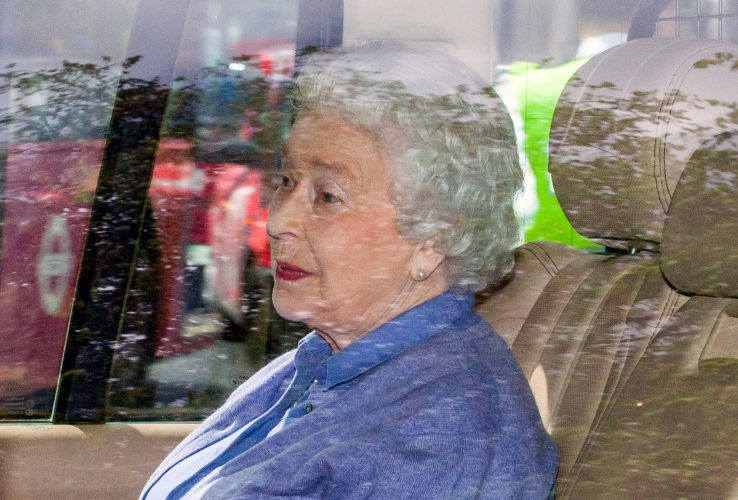 HRH Queen Elizabeth 2 leaves Kensington Palace after meeting Princess Charlotte for the first time.