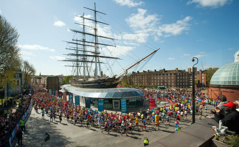 Runners in the 2014 London Marathon pass the Cutty Sark.