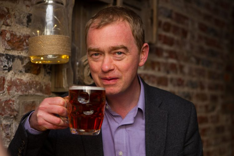 Party Leader Tim Farron enjoys a pint ahead of the Liberal Democrat Spring Conference 2016, York