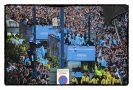 Manchester City celebrate FA Premier League trophy success.
