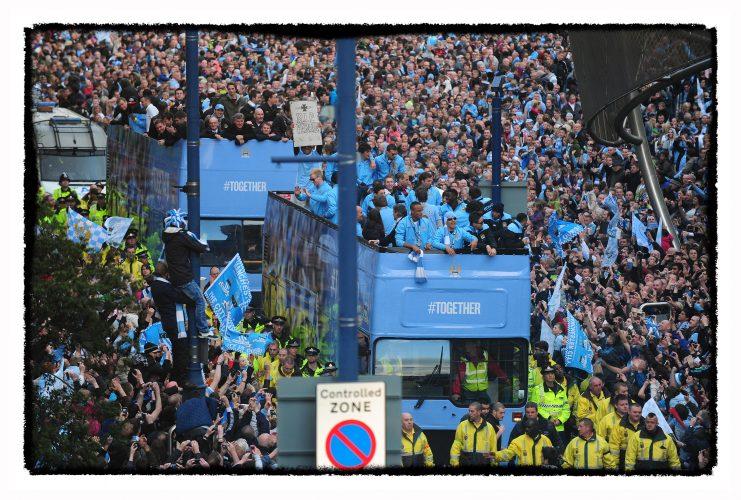 Manchester City celebrate FA Premier League trophy success.