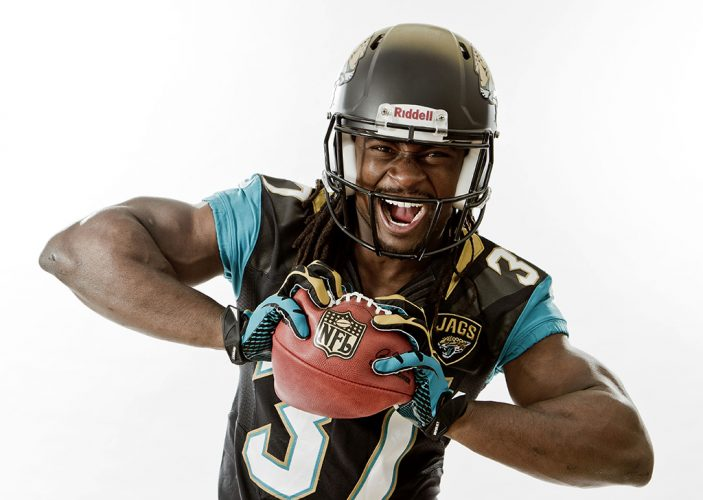 Johnathan Cyprien of the NFL team, Jacksonville Jaguars, on a visit to London.