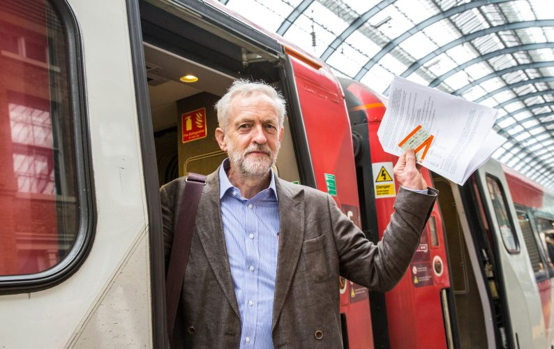 Labour leadership candidate,Jeremy Corbyn, lays out his plans for a publicly owned railway before boarding a train to Newcastle-Kings Cross,London England 18th August 2015