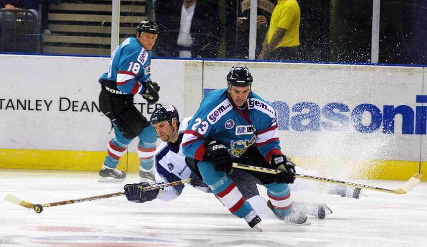 ice, Hockey, Super, League, 2001, Goal Tander, 2001, London Knights, 14/10/2001 UK, British, Belfast Giants, Elite, London Areana