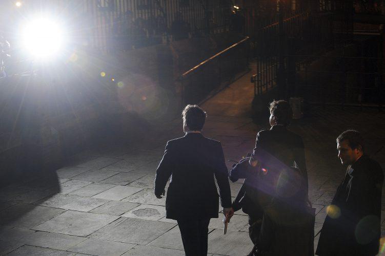 Hugh Grant leaving the Leveson inquiry.