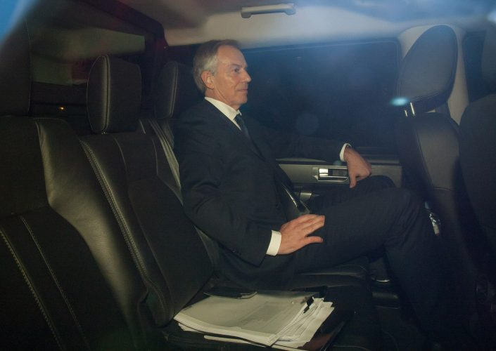 Tony Blair is driven away from Portcullis House after giving evidence to the Northern Ireland Affairs Committee over the so called IRA
